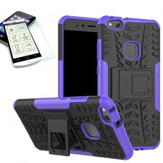 Hybrid Case Tasche Outdoor 2teilig Lila für Huawei P10 Lite Hülle + Hartglas