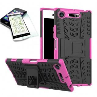 Hybrid Case 2 teilig Rosa für Sony Xperia XZ1 Hülle + 0, 3 H9 Hartglas Tasche - Vorschau 2