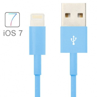 USB Datenkabel Blau IOS 7 / 8 für Apple iPhone 5 5S 5C iPad 4 Air Mini Retina Neu