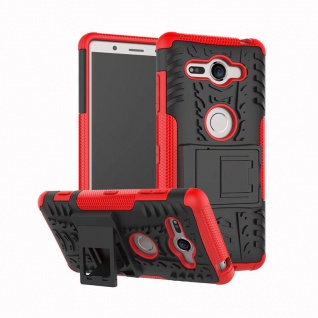 Hybrid Case 2teilig Outdoor Rot Tasche Hülle für Sony Xperia XZ2 Compact Cover