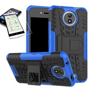 Hybrid Case Tasche 2teilig Blau für Motorola Moto C Plus + H9 Hartglas Hülle