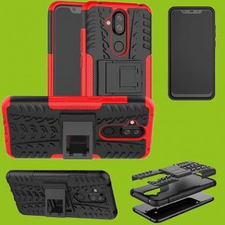 Für Nokia 3.1 Plus 6.0 Zoll Hybrid Case 2teilig Outdoor Rot Tasche Hülle Cover