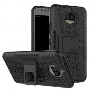 Hybrid Case 2teilig Outdoor Schwarz Tasche Hülle für Motorola Moto G5S Plus Etui