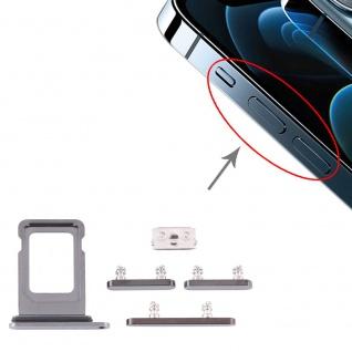 Sim Karten Halter und Power / Lautstärke Button Apple iPhone 12 Pro Max Grau Neu