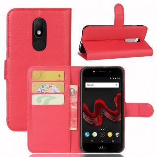Tasche Wallet Premium Rot für Wiko Wim Lite Hülle Case Cover Etui Schutz Neu Top