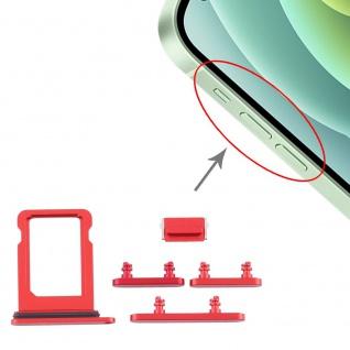 Sim Karten Halter und Power / Lautstärke Button Apple iPhone 12 Mini Rot