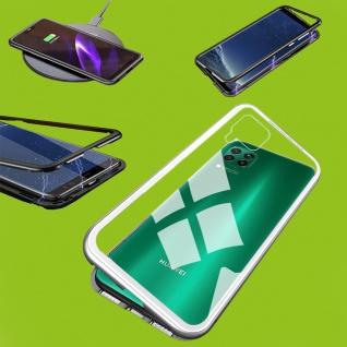 Für Huawei P40 Lite Magnet Metall Glas Silber Handy Tasche Hülle Case Cover Neu