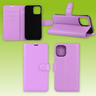 Für Apple iPhone 12 Mini Handy Tasche Wallet Lila Etuis Kunst-Leder Hülle Case