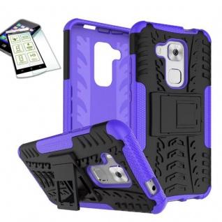 Hybrid Case Tasche Outdoor 2teilig Lila für Huawei Nova Plus + Hartglas Cover