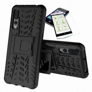 Für Huawei P Smart Plus Hybrid Tasche Outdoor 2teilig Schwarz Hülle + H9 Glas