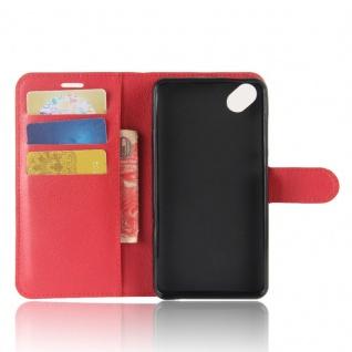 Tasche Wallet Premium Rot für Wiko Sunny 2 Plus Hülle Case Cover Etui Schutz Neu - Vorschau 4