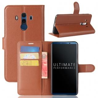Tasche Wallet Premium Braun für Huawei Mate 10 Pro Hülle Case Cover Etui Schutz