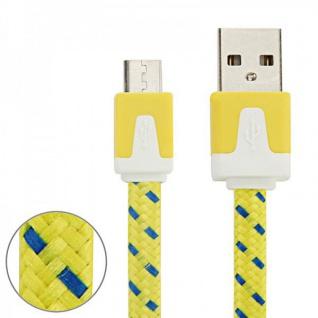 2m USB Daten und Ladekabel Gelb für alle Smartphone und Tablet Micro USB Zubehör