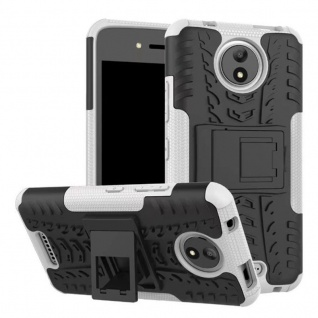 Hybrid Case 2teilig Outdoor Weiß Tasche Hülle für Motorola Moto C Plus Cover Neu