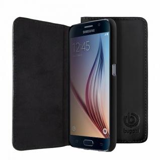 Original Bugatti BookCover Oslo für Samsung Galaxy S6 G920 G920F Schwarz Tasche