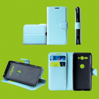 Für Samsung Galaxy S10 Plus G975F 6.4 Tasche Wallet Kunst-Leder Blau Hülle Etuis