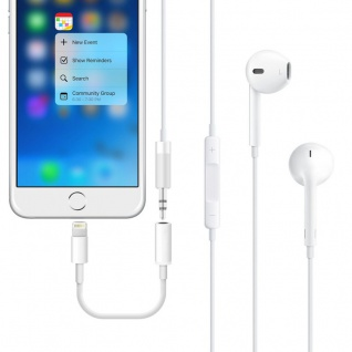 Audio AUX Adapter 8 Pin auf 3, 5 Klinke für Apple iPhone 7 7 Plus Kabel Weiss Neu