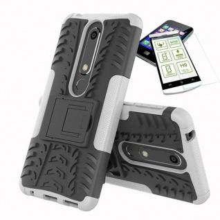 Für Nokia 6 5.5 2018 Hybrid Tasche Outdoor 2teilig Weiß Hülle + H9 Glas Case Neu