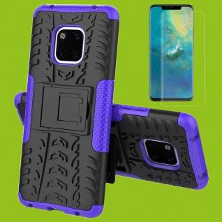 Für Huawei Mate 20 Hybrid Tasche Cover Outdoor 2teilig Lila Hülle + H9 Glas Etui