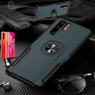 Für Huawei P30 Pro Magnet Metall Ring Hybrid Navy Tasche Etuis + 4D H9 Glas Case
