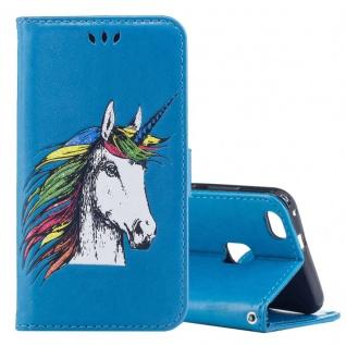 Tasche Wallet Einhorn Blau für Huawei P10 Lite Hülle Case Cover Etui Schutz Neu