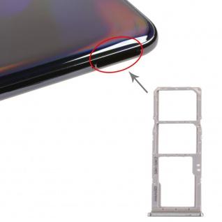 Dual Sim Karten Halter für Samsung Galaxy A70 Silber Card Tray Micro SD Ersatz
