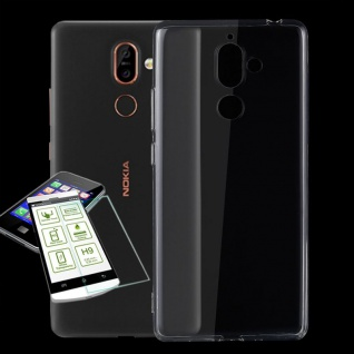 Silikoncase Transparent Tasche + 0, 3 H9 Hart Glas für Nokia 7 Plus Hülle Cover