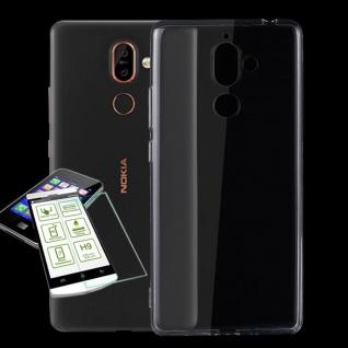 Silikoncase Transparent Tasche + 0, 3 H9 Panzerglas für Nokia 7 Plus Hülle Cover