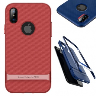 Original ROCK Silikon Case Tasche Schwarz / Rot für Apple iPhone X / XS Hülle
