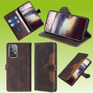 Für Samsung Galaxy A52 5G Design Handy Tasche Braun Etuis Kunst-Leder Hülle Case