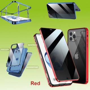Beidseitiger Magnet Glas Bumper Privacy Rot für Apple iPhone 12 Mini 5.4 Tasche