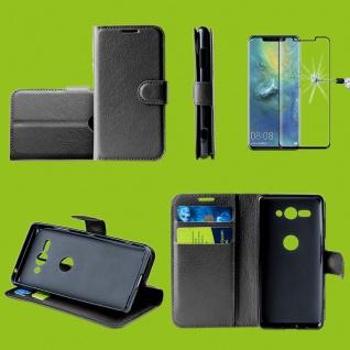 Für Huawei P30 Tasche Wallet Schwarz Hülle Etuis Cover + H9 4D Curved Hart Glas