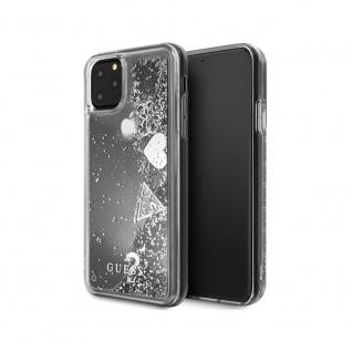 Guess Hard Cover Schutzhülle für Apple iPhone 11 Silber Glitzer Herz Tasche Case