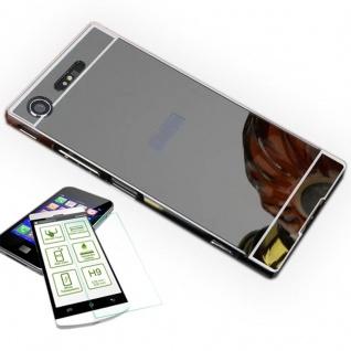 Alu Bumper 2 teilig Schwarz + 0, 3 H9 Hartglas für Sony Xperia XZ1 Compact Mini