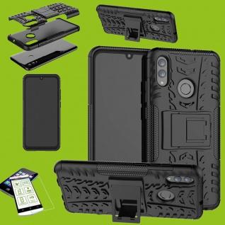 Für Huawei P Smart 2019 Hybrid Tasche Outdoor 2teilig Schwarz Hülle + H9 Glas