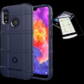 Für Huawei P20 Tasche Shield TPU Silikon Hülle Blau + 0, 26 H9 Glas Cover Etui
