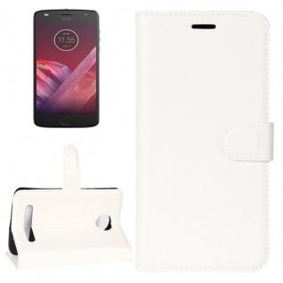 Tasche Wallet Premium Weiß für Motorola Moto Z2 Play Hülle Case Cover Etui Neu