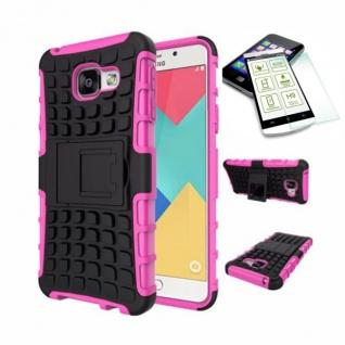 Hybrid Case Tasche 2teilig Pink für Samsung Galaxy A3 2016 A310F + H9 Hartglas