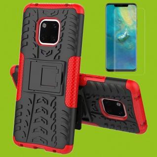 Für Huawei Mate 20 Pro Hybrid Tasche 2teilig Rot Hülle + 4D Curved H9 Glas Case