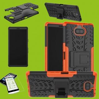 Für Sony Xperia 10 Hybrid Case 2 teilig Orange Hülle + 0, 3 H9 Glas Tasche Etuis