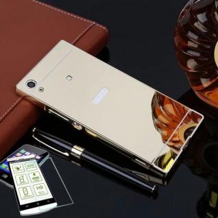 Alu Bumper 2 teilig Gold + 0, 3 H9 Hartglas für Sony Xperia XA1 G3112 G3121 Neu