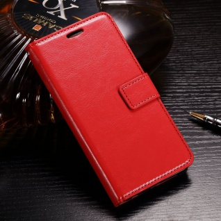 Tasche Wallet Premium Rot für Huawei Honor 9 Lite Hülle Case Cover Schutz Etui