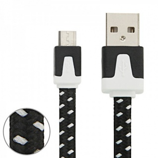 2m USB Daten und Ladekabel Schwarz für alle Smartphone und Tablet Micro USB Neu