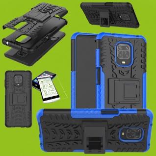 Für Xiaomi Redmi Note 9S Hybrid Handy Tasche Hülle Cover Blau + H9 Glas Panzer