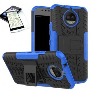 Hybrid Case Tasche Outdoor 2teilig Blau für Motorola Moto G5S Plus Hülle + Glas