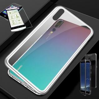 Für Huawei P Smart Plus Magnet Glas Tasche Silber / Transparent + 0, 26 H9 Glas