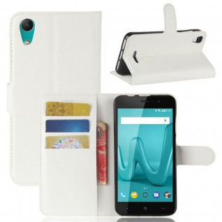 Tasche Wallet Premium Weiß für Wiko Lenny 4 Hülle Case Cover Etui Schutz Neu Top