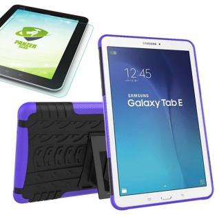 Hybrid Outdoor Tasche Lila für Samsung Galaxy Tab E 9.6 T560 + 0.4 Hartglas