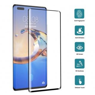 Für Huawei Mate 40 Pro 4D Display Full H9 Curved Glas Schwarz Panzer Schutz Neu