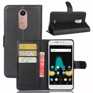 Tasche Wallet Premium Schwarz für Wiko Upulse Lite Hülle Case Cover Etui Schutz